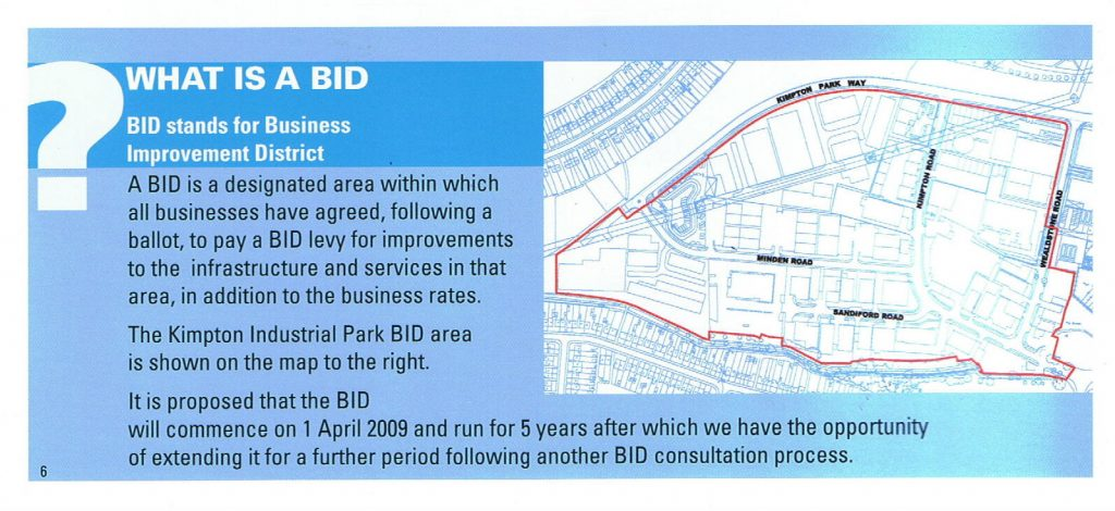 Original BID area from BID 1 brochure about KIPPA BID LTD's Formation.
